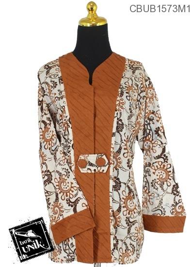 Baju Batik Terbaru  Blus Panjang Jumbo Motif Sogan Kotemporer Coklat