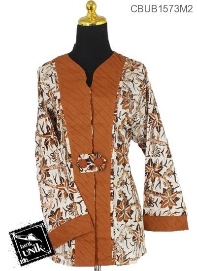 Baju Batik Blus Panjang Jumbo Motif Sogan Kotemporer Coklat