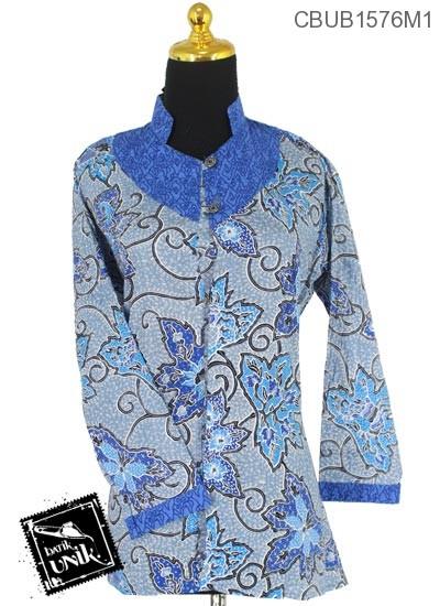 Baju Batik Terbaru  Blus Panjang Motif Daun Merambat