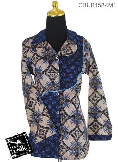 Baju Batik Terbaru  Blus Panjang Motif Kawung Teruntum