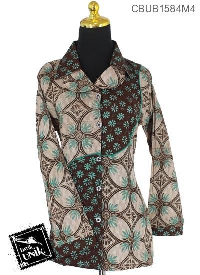 Baju Batik Blus Panjang Motif Kawung Teruntum
