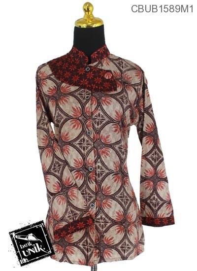 Baju Batik Terbaru  Blus Panjang Katun Motif Kawung Isi