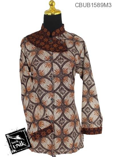 Baju Batik Blus Panjang Katun Motif Kawung Isi