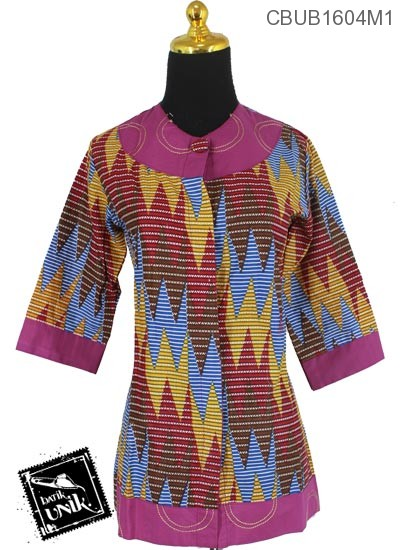 Baju Batik Terbaru  Blus Tanggung Motif Rang Rang Centang