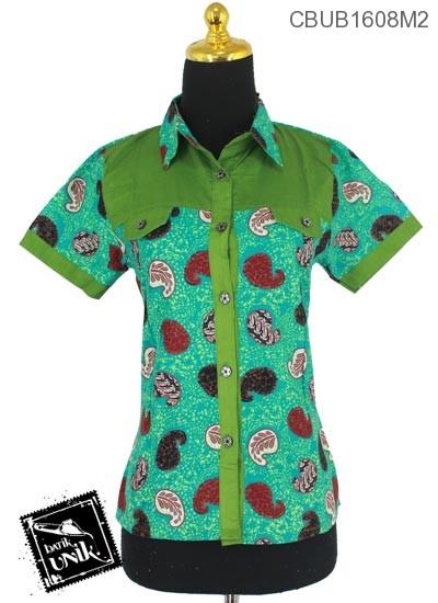 Baju Batik Blus Pendek Motif Amuba Isi
