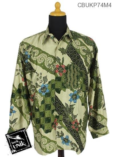 Baju Batik Kemeja Panjang Semi Sutra Motif Gradasi Kawung