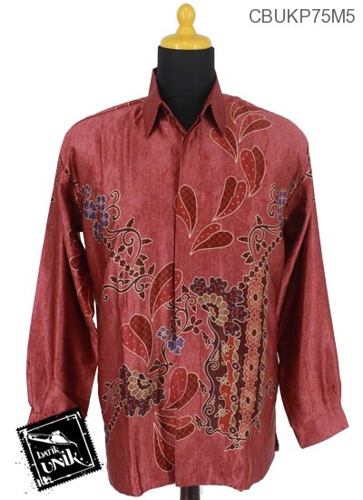 Baju Batik Kemeja Panjang Semi Sutra Motif Rantaian Kembang Wulu