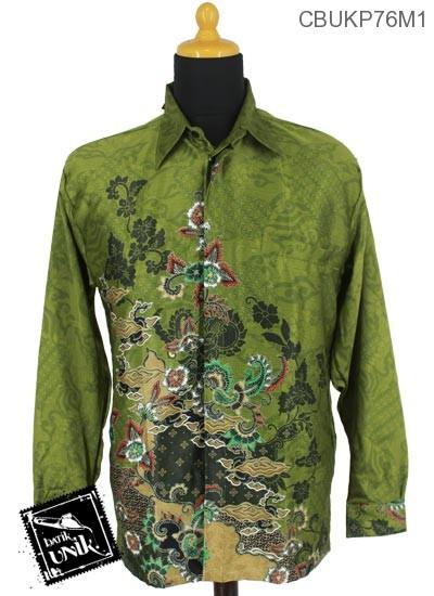 Baju Batik Terbaru  Kemeja Panjang Motif Mega Kembang Alas