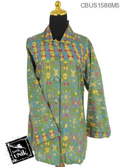 Blus Batik Panjang Motif Tetris Cinta