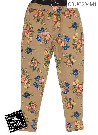 Celana Stretch Motif Bunga Sepatu