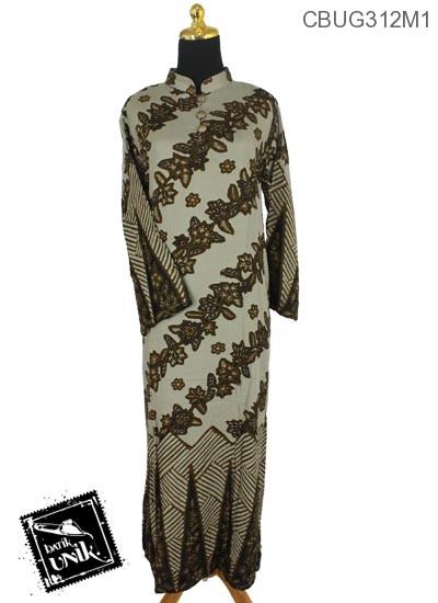 Baju Batik Terbaru  Gamis Shantung Twiil Motif Kotemporer Klasik
