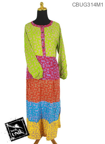 Baju Batik Terbaru  Gamis Pekalongan Motif Kembang Suket Kotemporer