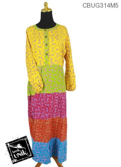 Baju Batik Gamis Pekalongan Motif Kembang Suket Kotemporer