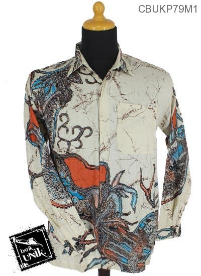 Baju Batik Kemeja Panjang Motif Gambar Danau Abstrak