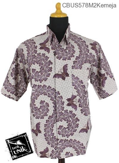 Baju Batik Sarimbit Kemeja Katun Motif Kupu Kembang Kol