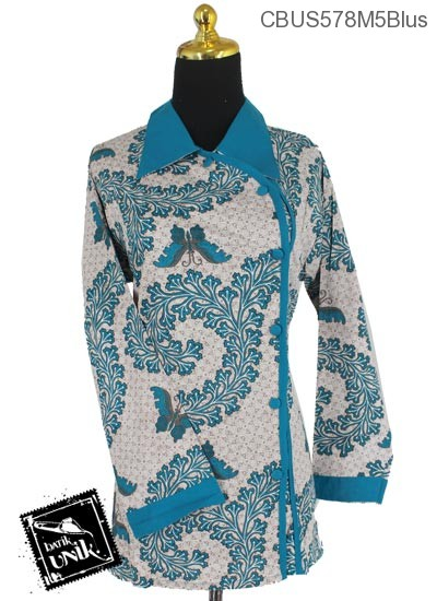 Baju Batik Sarimbit Blus Katun Motif Kupu Kembang Kol