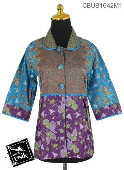 Baju Batik Terbaru  Blus Tanggung Motif Ranting Wulu Kembang