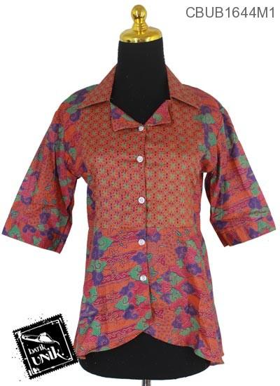Blus Batik Terbaru  Tanggung Motif Pita Mego