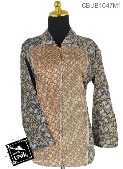 Baju Batik Terbaru  Blus Panjang Motif kembang Ragahina