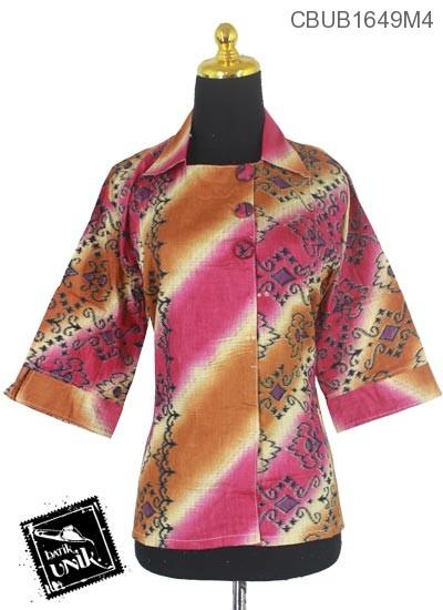 Blus Batik Tanggung Motif Gradasi Songket