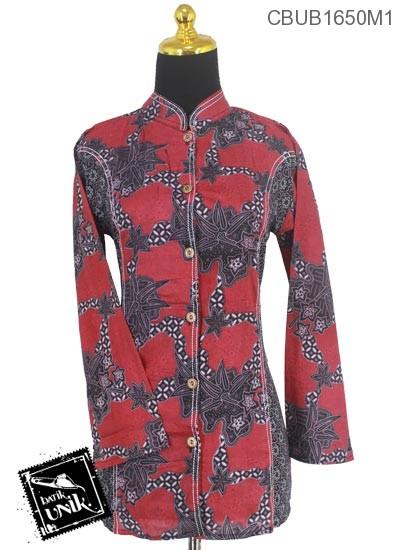 Baju Batik Terbaru  Blus Panjang Motif Godhong Jagad