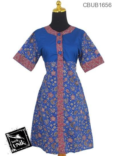Baju Batik Dress Katun Motif Amuba Kembang