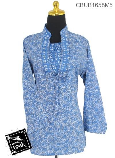Blus Batik Panjang Katun Motif Blarak Lerek Tumpal