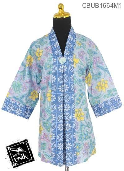 Blus Batik Terbaru  Tanggung Motif Kembang Alas Sisik Ceplok