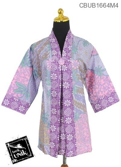 Blus Batik Tanggung Motif Kembang Alas Sisik Ceplok