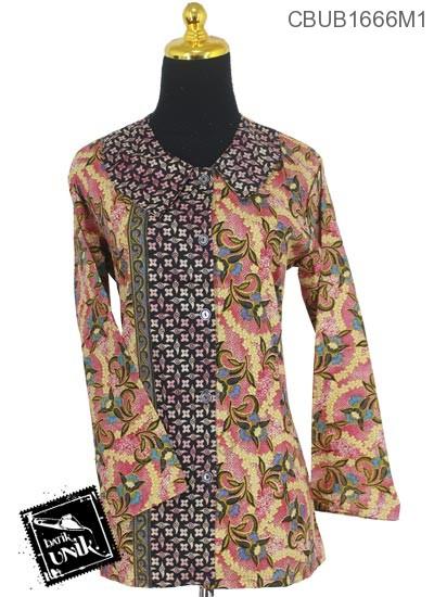 Baju Batik Terbaru  Blus Panjang Katun Motif Godhong Jengger