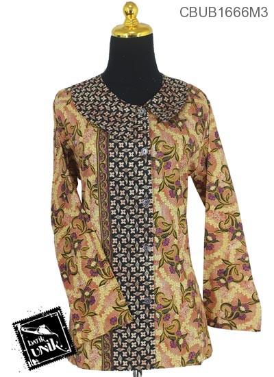 Baju Batik Blus Panjang Katun Motif Godhong Jengger