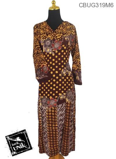 Baju Batik Longdress Motif Polkadot Ceplok