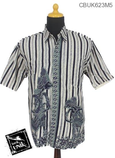 Kemeja Batik Katun Motif Garis Wayang