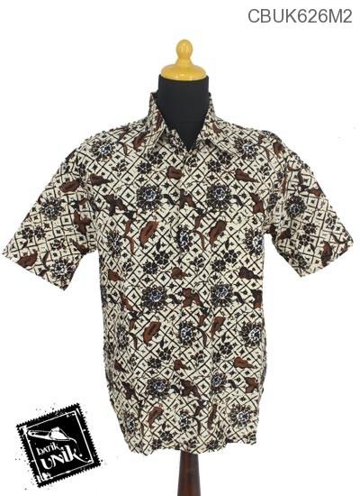 Baju Batik Kemeja Motif Sogan Batangan XXL