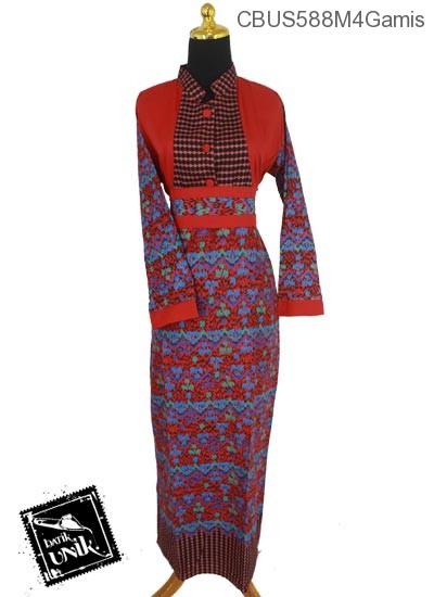Baju Batik Sarimbit Gamis Motif Gunungan Manik Mumet