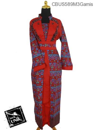 Baju Batik Sarimbit Gamis Motif Gunung Mumet Abstrak