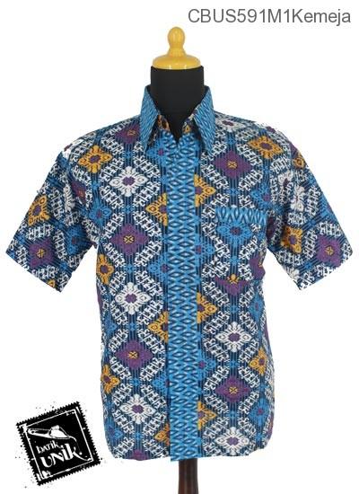 Baju Batik Sarimbit Kemeja Motif Tetris Baris Manik