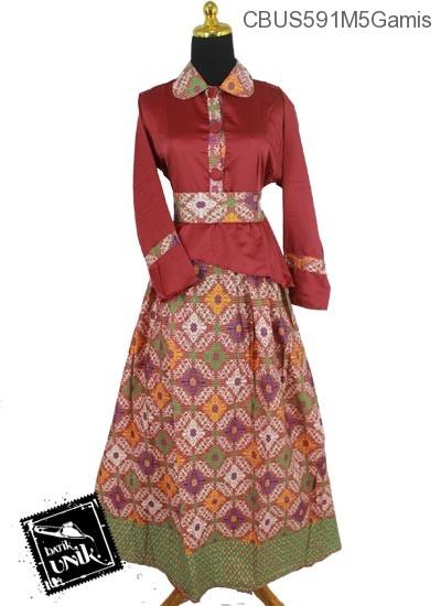 Baju Batik Sarimbit Gamis Motif Tetris Baris Manik