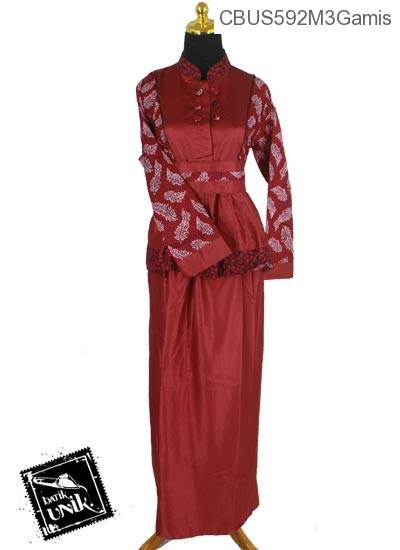 Baju Batik Sarimbit Gamis Motif Godhong Palem Tumpal