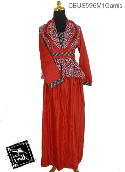 Baju Batik Terbaru  Sarimbit Gamis Motif Godhong Alas Mego