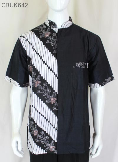 Baju Batik Kemeja Koko Motif Kembang Parang Stik