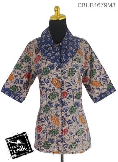 Blus Batik Tanggung Pekalongan Motif Kembang Angur