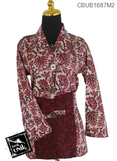 Blus Batik Panjang Motif Godhong Cap Ceprot
