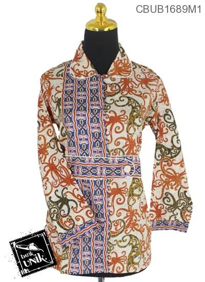 Blus Batik Terbaru  Panjang Katun Motif Gurita Alas Tumpal