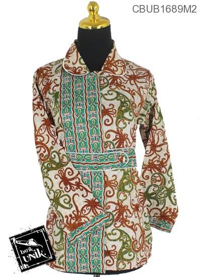 Blus Batik Panjang Katun Motif Gurita Alas Tumpal