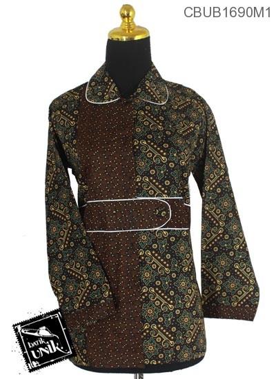 Baju Batik Blus Panjang Pekalongan Motif Kembang Pager Tumpal
