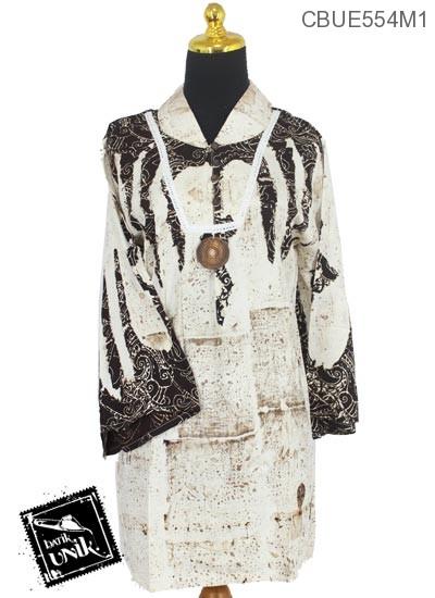 Baju Batik Terbaru  Blus Panjang Motif Semprot Jungkat Abstrak