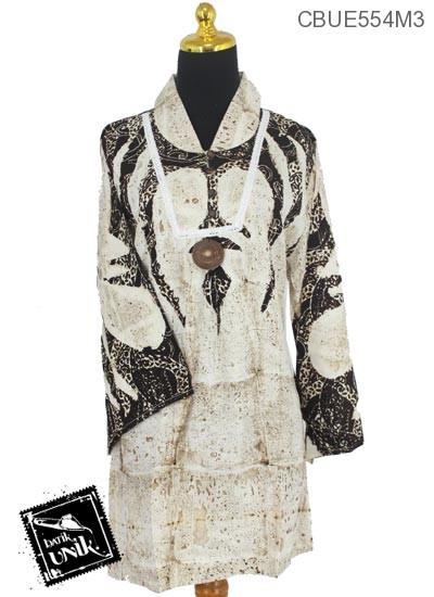 Baju Batik Blus Panjang Motif Semprot Jungkat Abstrak