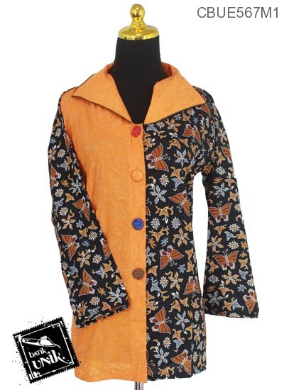 Baju Batik Terbaru  Blus Panjang Motif Kupu Godhong Tangkai
