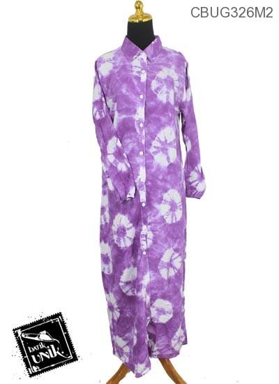 Baju Batik Gamis Pekalongan Motif Pelangi Bundel Celup